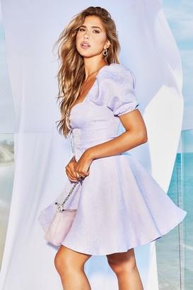 boohoo Jacquared Tie Detail Skater Dress