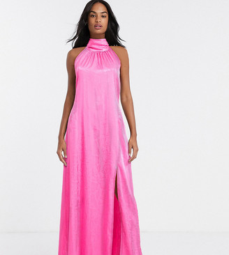 Flounce London exclusive high neck maxi dress with open back in hot pink