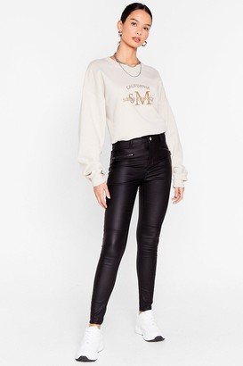 Nasty Gal Womens We Love the Slit Outta You Faux Leather Trousers - Black - 8