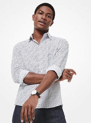 Michael Kors Slim-Fit Diamond Stretch-Cotton Shirt