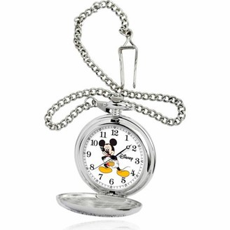 Mickey Mouse Disney Men's Pocket Watch, Silver Chain