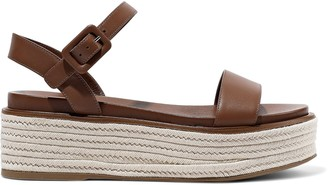 Sergio Rossi Maui Leather Platform Espadrille Sandals