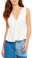 Free People Embroidered V-Neck Tie-Back Sleeveless Peplum Blouse