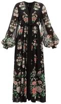 Giambattista Valli Rope-trimmed Floral-print Silk Maxi Dress - Womens - Black Print