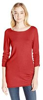 It's Our Time Women's Boat Neck Jersey Top with One Side Rouching