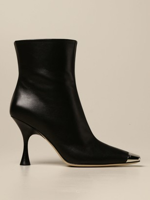 Sergio Rossi Heeled Booties Ankle Boot In Leather With Metal Tip