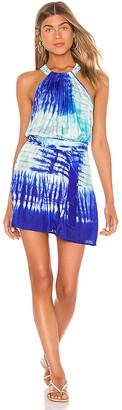 Juliet Dunn Tie Dye Halter Neck Mini Dress