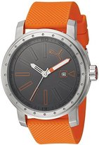 Puma Quartz Stainless Steel and Polyurethane Watch, Color:Orange (Model: PU103961003)