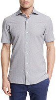 Ermenegildo Zegna Seersucker Short-Sleeve Shirt, Medium Gray