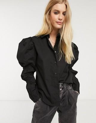 Bershka volume sleeve shirt in black