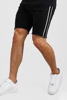 boohoo Mens Black Skinny Rigid Distressed Denim Shorts With Tape, Black
