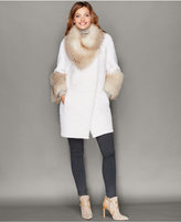 The Fur Vault Fox-Trim Beaver Fur Coat