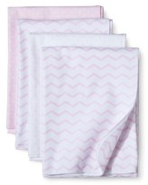 Circo 4pk Flannel Receiving Blankets - Zigs 'n Zags Pink