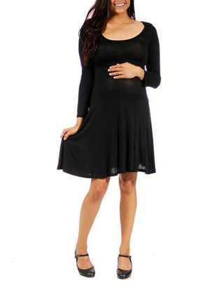 24/7 Comfort Apparel Women's Long-sleeve Maternity Plus Dress