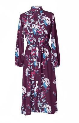 Hide The Label Acacia Dress In Plum Peony Print