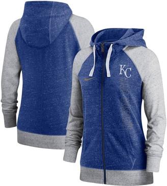 Nike Women's Royal Kansas City Royals In Pocket Gym Vintage Full-Zip Hoodie