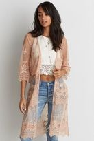 American Eagle Outfitters AE Embroidered Mesh Kimono