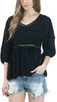 Bow & Arrow Black Crochet-Tiered V-Neck Top