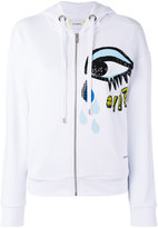 Iceberg sequins eye zip up hoodie - women - Cotton/Polyester - 38