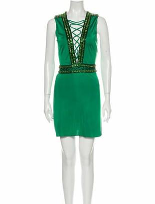 Balmain Plunge Neckline Mini Dress Green