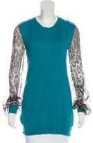 Just Cavalli Silk-Accented Mohair-Blend Tunic