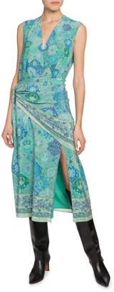 Altuzarra Gathered Bandana Print Silk Midi Dress