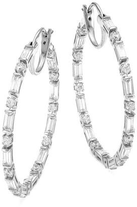Adriana Orsini Silvertone & Cubic Zirconia Medium Hoop Earrings