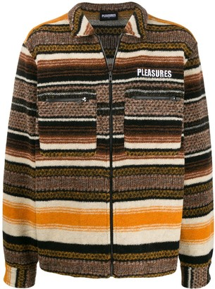 Pleasures Explorer striped zip-up cardigan