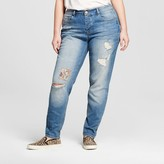 Dollhouse Women's Plus Size Destructed Skinny Jean Blue