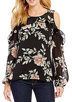 GUESS Adler Floral Print Ruffle Cold Shoulder Top