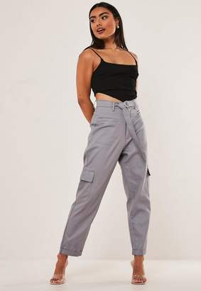 Missguided Gray D Ring Cargo Trousers