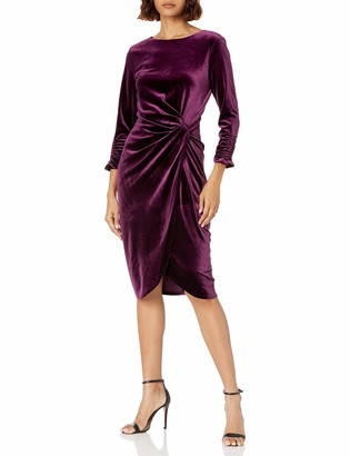 Tahari ASL Women's Long Sleeve Mock Neck Velvet Faux Wrap Dress