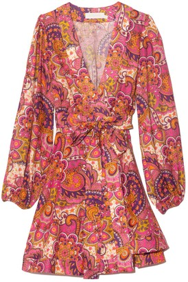 Zimmermann Fiesta Wrap Short Dress in Pink Paisley
