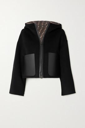 Fendi Reversible Hooded Leather-trimmed Printed Wool And Silk-blend Jacket - Black