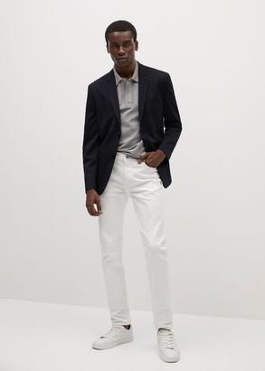 MANGO MAN - Super slim fit technical fabric blazer dark navy - 36 - Men