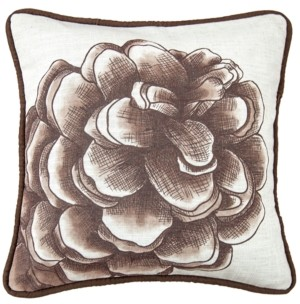 """HiEnd Accents 18""""x18"""" Water Print Pinecone Pillow"""