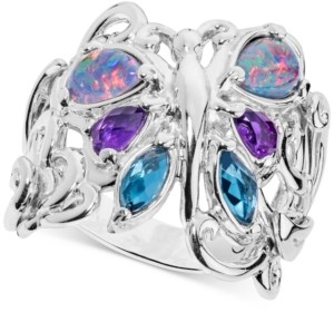 Carolyn Pollack Multi-Gemstone Butterfly Statement Ring (2-1/5 ct. t.w.) in Sterling Silver