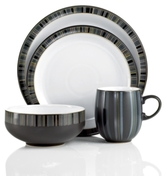 Denby Dinnerware, Jet Stripes 4 Piece Place Setting