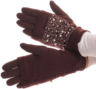 Sakkas 16163 - Tam Rhinestone Pearl Touch Screen Tip Knitted Glove With Removable Sleeve - Brown - L/XL