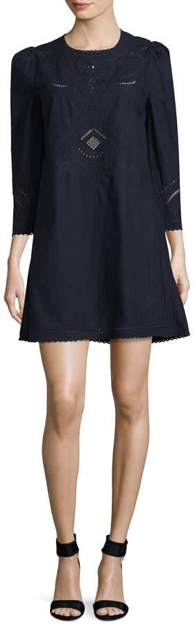 Derek Lam 10 Crosby Women's Embroidered Puff Shoulder Cotton Dress