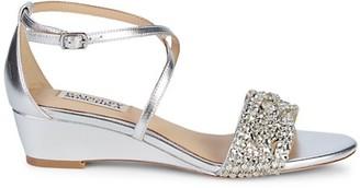 Badgley Mischka Tressa Embellished Metallic-Leather Wedge Sandals
