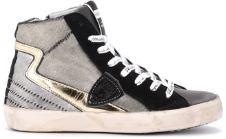Philippe Model Paris High-top Sneaker Made Of Anthracite-colored Laminated Pony