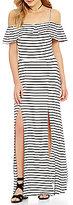 GB Off-The-Shoulder Striped Maxi Dress