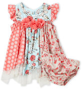 Bonnie Baby Newborn/Infant Girls) Two-Piece Mixed Print Woven Dress & Bloomers Set