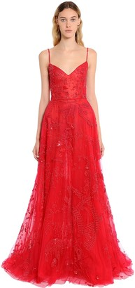 ZUHAIR MURAD Beaded Tulle Floral Gown