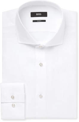 HUGO BOSS White Jason Slim-Fit Linen Shirt