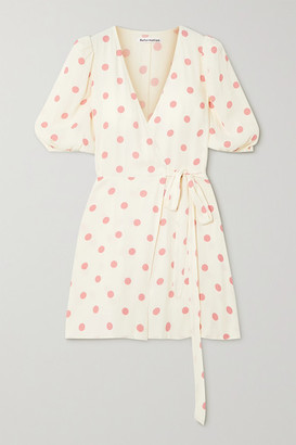 Reformation Olince Polka-dot Crepe Mini Wrap Dress - Ivory