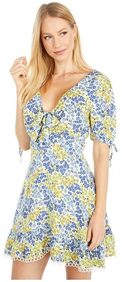 Lost + Wander Blossom and Bloom Short Sleeve Mini Dress (Blue/Yellow Floral) Women's Dress