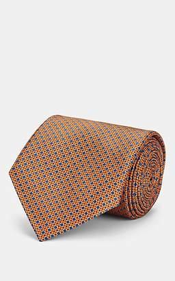 Brioni Men's Diamond-Dot Silk Satin Necktie - Orange
