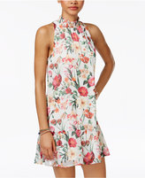 Speechless Juniors' Floral-Print Mock-Neck Dress